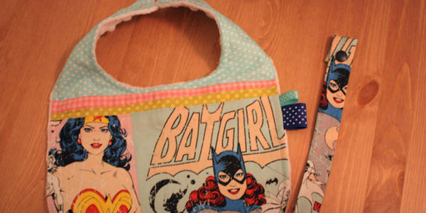 Wonder Woman Batgirl Baby bib and pacifier clip