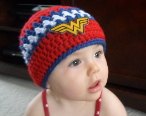 Wonder woman baby crochet hat